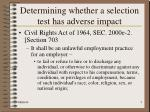 determining whether a selection test has adverse impact