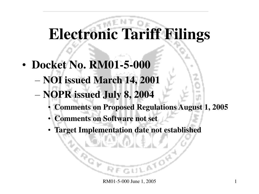 electronic tariff filings l.