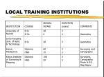 local training institutions