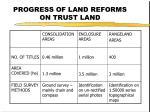 progress of land reforms on trust land