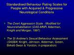 standardised behaviour rating scales for people with acquired progressive neurological conditions