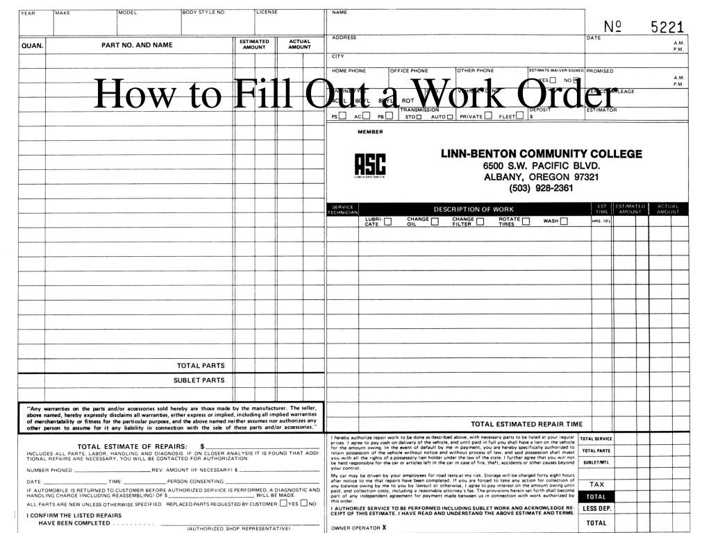 how to fill out a work order l.