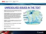 unresolved issues in the text