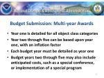 budget submission multi year awards