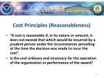 cost principles reasonableness
