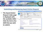 submitting and reviewing award action request