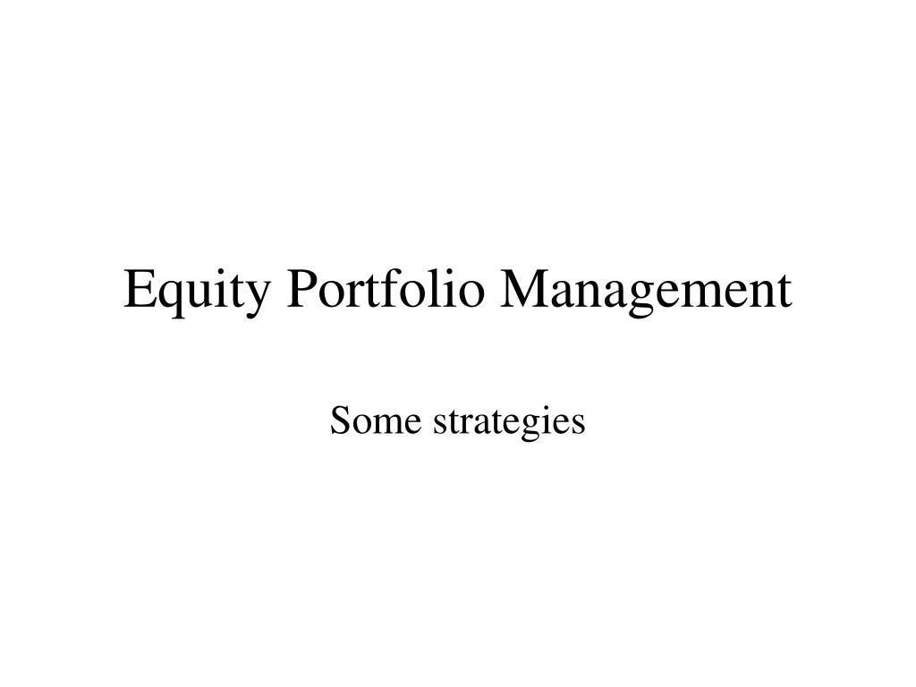 equity portfolio management l.