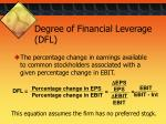 degree of financial leverage dfl