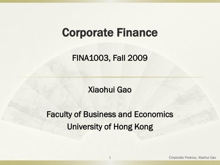 corporate finance n.