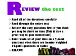 eview the test
