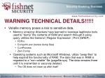 warning technical details