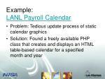 example lanl payroll calendar