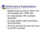 performance explanations