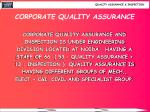 corporate quality assurance