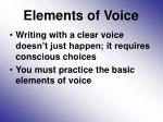 elements of voice