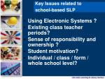 key issues related to school based slp