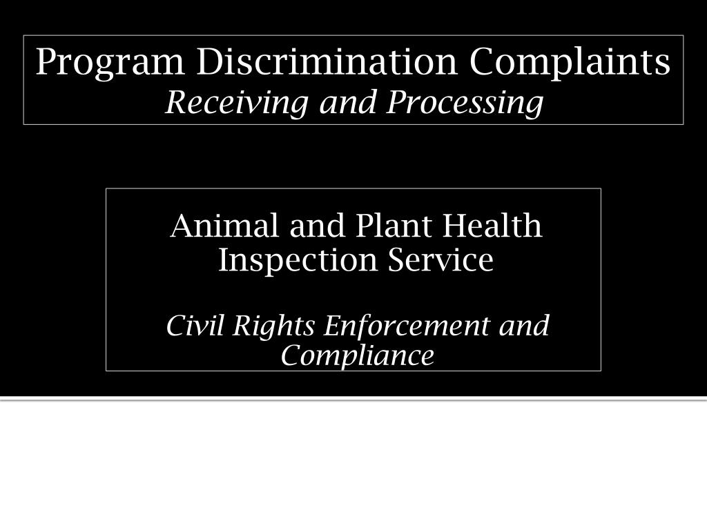 animal and plant health inspection service civil rights enforcement and compliance l.