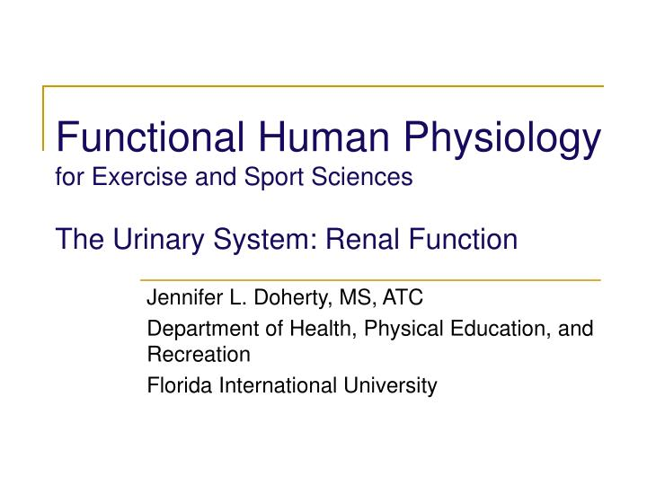 functional human physiology for exercise and sport sciences the urinary system renal function n.