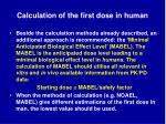 calculation of the first dose in human