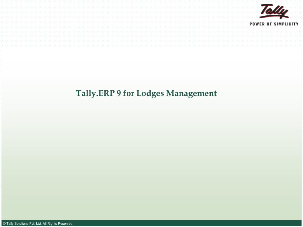 tally erp 9 for lodges management l.