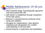 middle adolescence 14 16 yrs