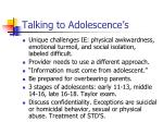 talking to adolescence s