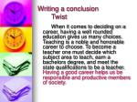 writing a conclusion twist