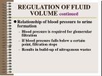 regulation of fluid volume continued