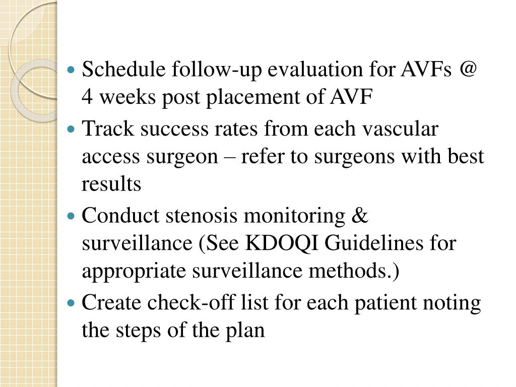 Schedule follow-up evaluation for AVFs @ 4 weeks post placement of AVF