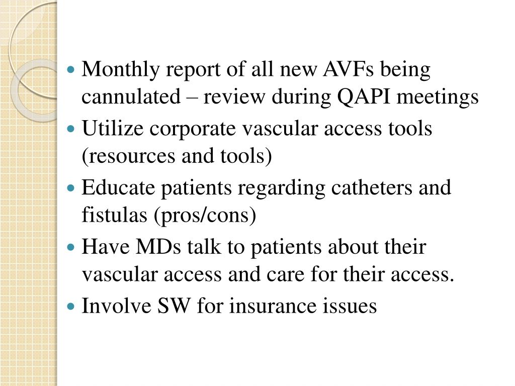Monthly report of all new AVFs being cannulated – review during QAPI meetings
