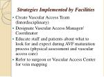 strategies implemented by facilities