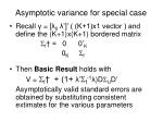 asymptotic variance for special case