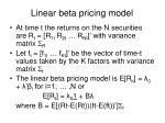 linear beta pricing model