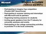 student activities netclub and msps