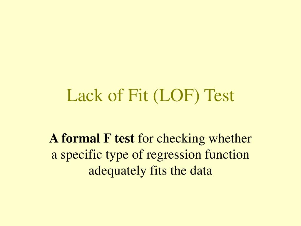 lack of fit lof test l.