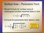 surface area parametric form
