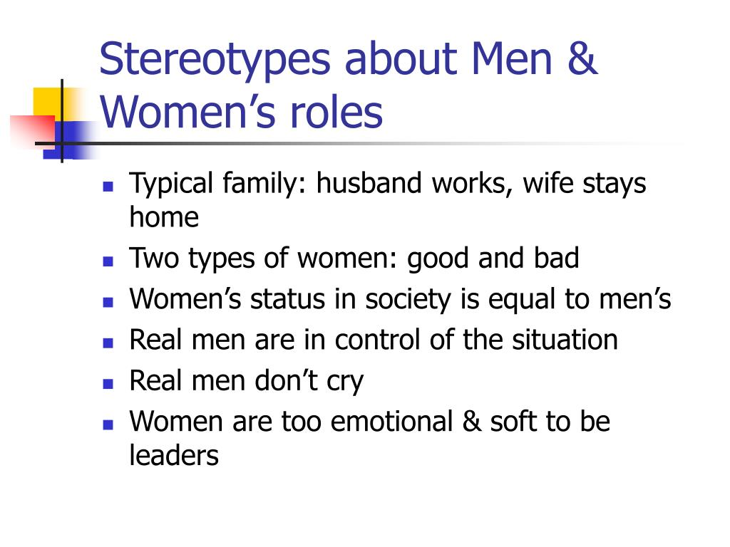 stereotypes about men women s roles l.