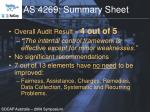 as 4269 summary sheet