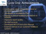 cycle one achievements