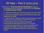 1b task part 2 a b c d e
