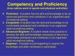 competency and proficiency how rubrics work in sports and physical activities