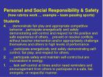personal and social responsibility safety how rubrics work example team passing sports