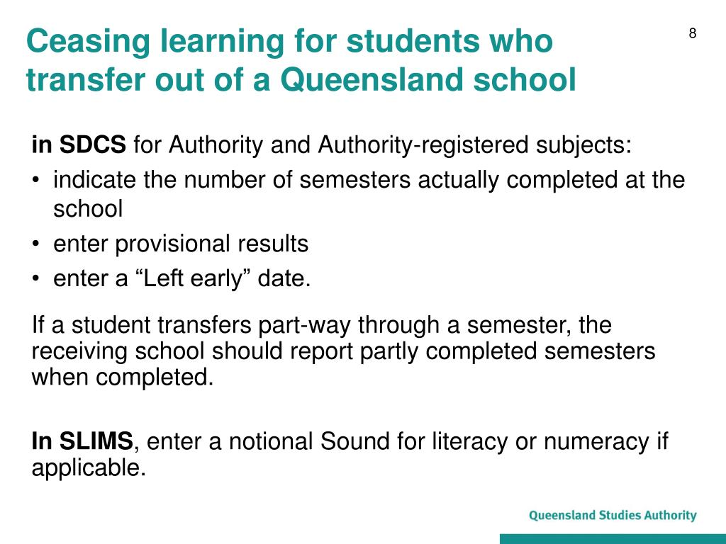 Ceasing learning for students who transfer out of a Queensland school