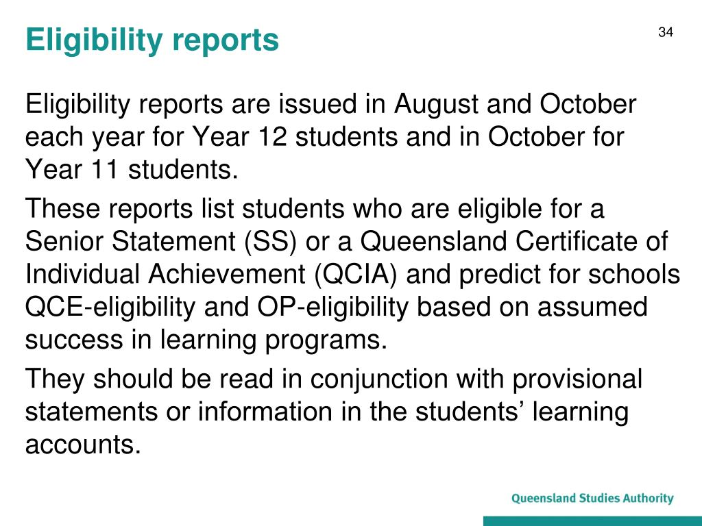 Eligibility reports
