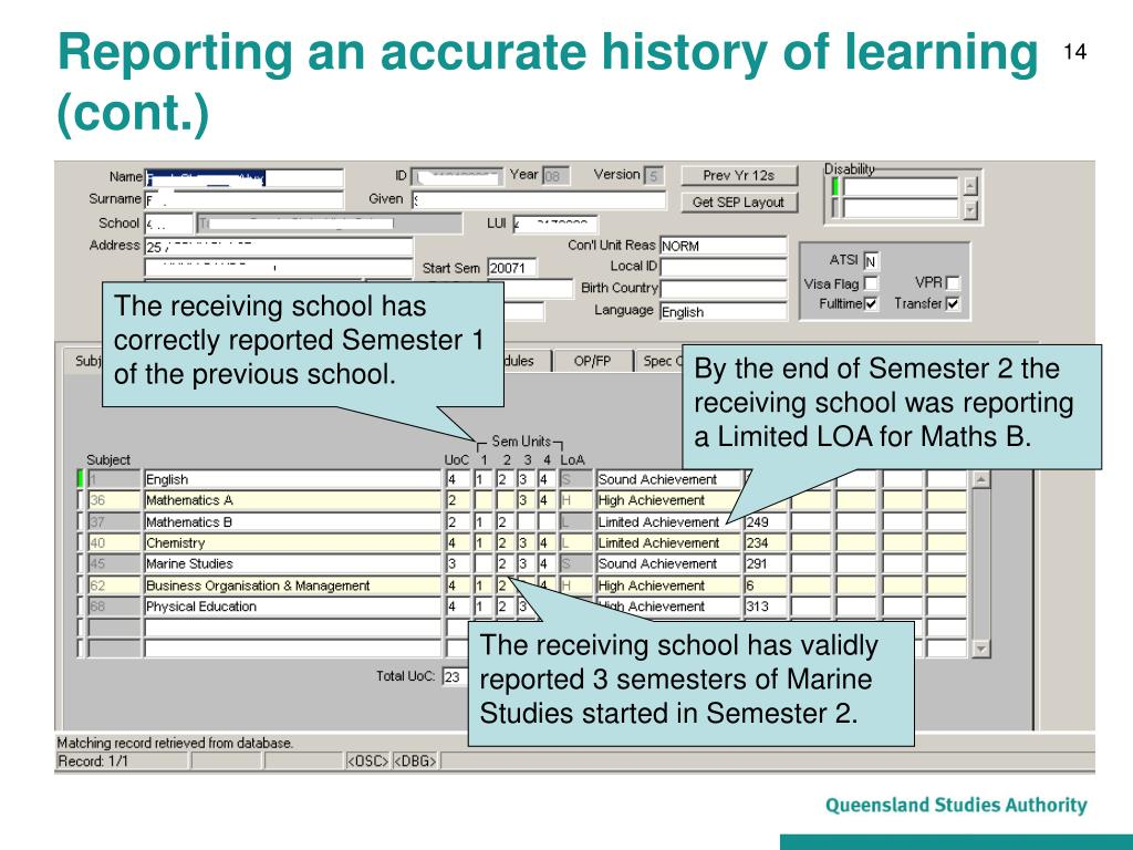 Reporting an accurate history of learning (cont.)