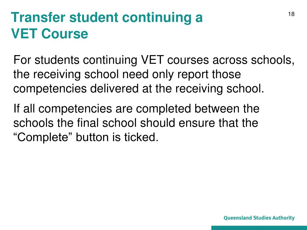 Transfer student continuing a