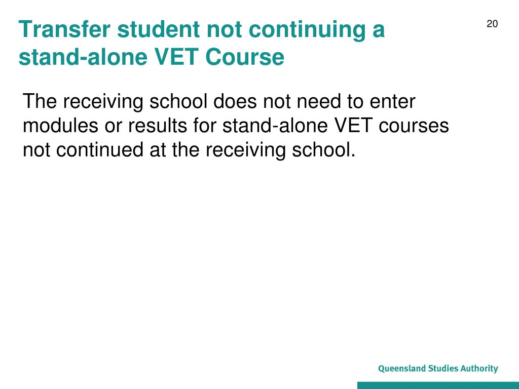 Transfer student not continuing a
