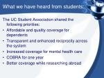 what we have heard from students