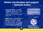 global coordination and support national action
