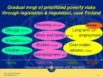 gradual mngt of prioritized poverty risks through legislation regulation case finland